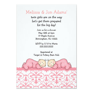 ピンクのダマスク織のベビーの双生児の女の子のシャワーの招待 カード