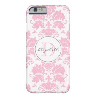 ピンクのダマスク織のモノグラムのなiPhone 6の場合 Barely There iPhone 6 ケース