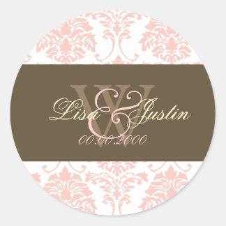 ピンクのダマスク織のモノグラムの結婚式用シール ラウンドシール