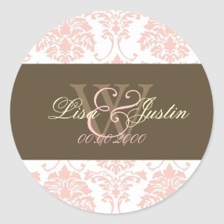 ピンクのダマスク織のモノグラムの結婚式用シール 丸形シールステッカー