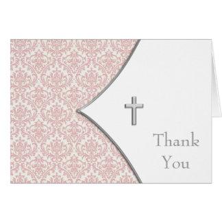 ピンクのダマスク織の十字のサンキューカード カード