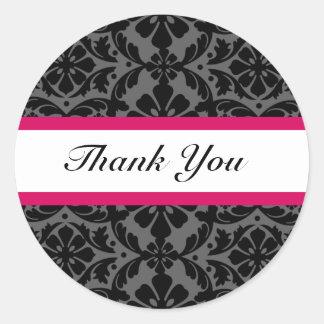 ピンクのダマスク織の結婚式はステッカー感謝していしています ラウンドシール