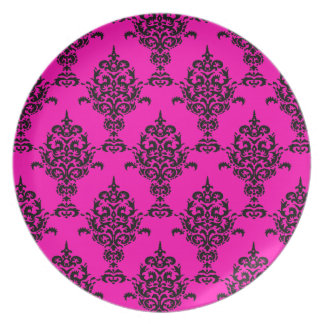 ピンクのダマスク織の黒 プレート