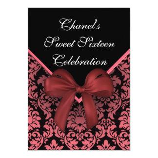 ピンクのダマスク織のSweet sixteenの招待状 カード