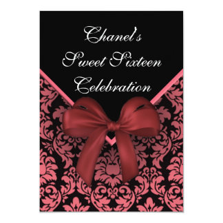 ピンクのダマスク織のSweet sixteenの招待状 12.7 X 17.8 インビテーションカード