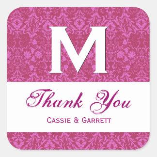 ピンクのダマスク織はR318を結婚するモノグラム感謝していしています スクエアシール