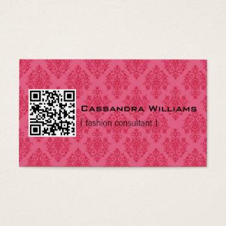 ピンクのダマスク織QRコード名刺 名刺
