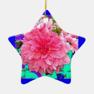 ピンクのダリアの庭の花 +SHARLESによる青 陶器製星型オーナメント