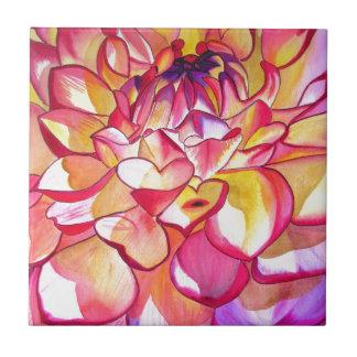 ピンクのダリアの花の水彩画の芸術 タイル