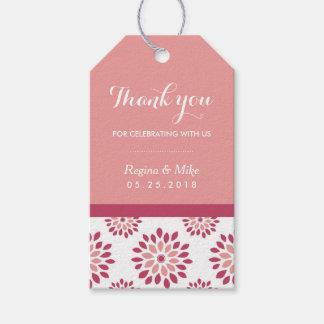 ピンクのダリアの花模様はギフトのラベル感謝していしています ギフトタグパック