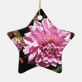 ピンクのダリアの花 陶器製星型オーナメント
