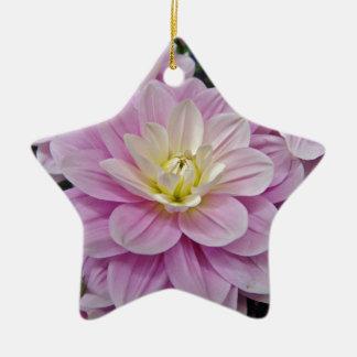 ピンクのダリア 陶器製星型オーナメント