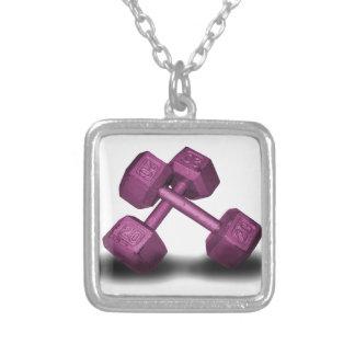 ピンクのダンベルの商品 シルバープレートネックレス