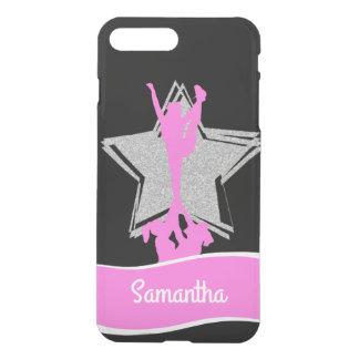 ピンクのチアリーダーのフライヤの名前入りなiphone 7の場合 iPhone 8 plus/7 plus ケース