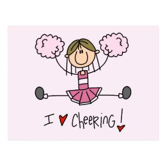 ピンクのチアリーダーのTシャツおよびギフト ポストカード