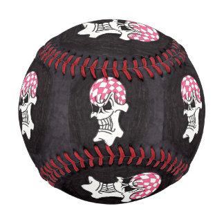 ピンクのチェッカーボードのスカルの野球 ベースボール
