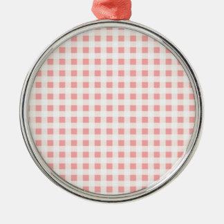 ピンクのチェッカーボードのパターンおよびプリントのかわいいデザイン メタルオーナメント