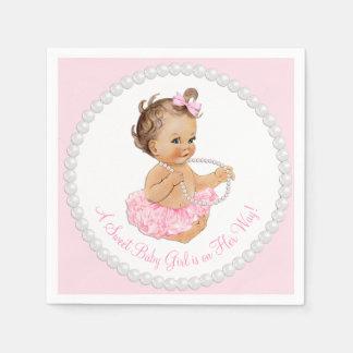 ピンクのチュチュのバレリーナの真珠のベビーシャワー スタンダードカクテルナプキン