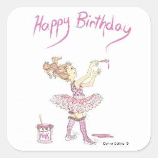 ピンクのチュチュの誕生日のステッカー スクエアシール