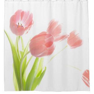 ピンクのチューリップの花のシャワー・カーテン シャワーカーテン