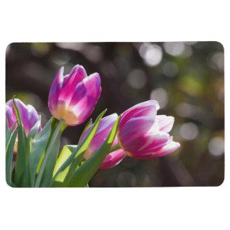 ピンクのチューリップの《写真》ぼけ味 フロアマット