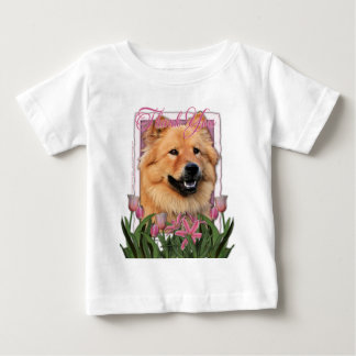 -ピンクのチューリップ-チャウチャウ- Cinnyありがとう ベビーTシャツ