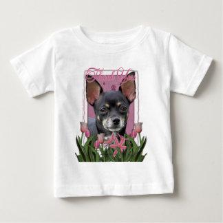 -ピンクのチューリップ-チワワ-イザベラありがとう ベビーTシャツ