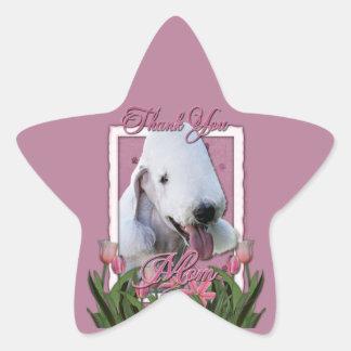 -ピンクのチューリップ-ベドリントン・テリアありがとう 星シール