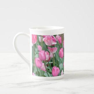 ピンクのチューリップ ボーンチャイナカップ