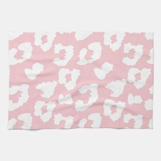 ピンクのチータのヒョウのプリント キッチンタオル