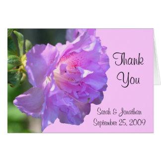 ピンクのツツジの花の結婚式のサンキューカード カード