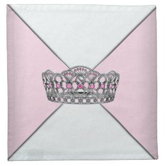 ピンクのティアラのピンクのプリンセスの布のカクテルのナプキン ナプキンクロス