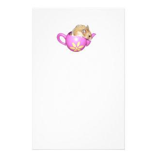 ピンクのティーポットの写真のかわいいハムスター 便箋