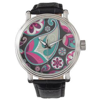 ピンクのティール(緑がかった色)のペイズリーパターン 腕時計