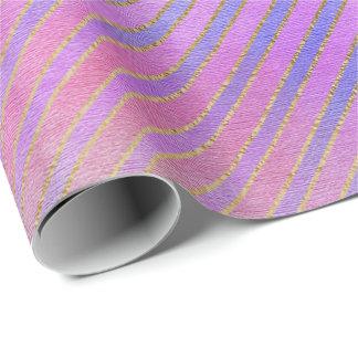 ピンクのティール(緑がかった色)のミントのパステル調のグラデーションな金ゴールドのミントは縞で飾りま ラッピングペーパー