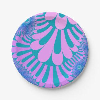 ピンクのティール(緑がかった色)のループパターン紙皿 ペーパープレート