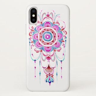 ピンクのティール(緑がかった色)の水彩画の曼荼羅の電話箱 iPhone X ケース