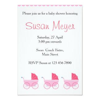 ピンクのテディー・ベアのハートの赤ん坊の招待状 カード