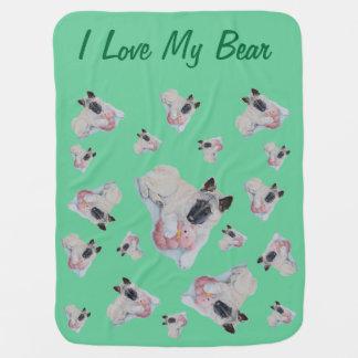 ピンクのテディー・ベア犬のスローガンを用いるかわいい秋田 ベビー ブランケット