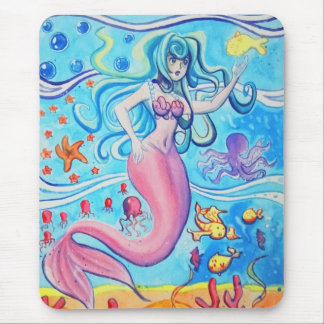 ピンクのテールフィンの人魚のマウスパッド マウスパッド