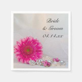 ピンクのデイジーおよびダイヤモンドボタンの結婚 スタンダードカクテルナプキン