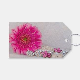 ピンクのデイジーおよびボタンの結婚式の引き出物のラベル ギフトタグ