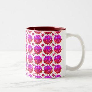 ピンクのデイジーのパフ ツートーンマグカップ