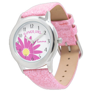 ピンクのデイジーのフラワー・ガール 腕時計