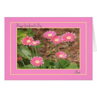 ピンクのデイジーの祖父母の日カードのためのMimi カード