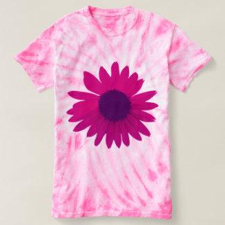 ピンクのデイジーの絞り染めのワイシャツ Tシャツ