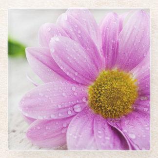 ピンクのデイジーの花ガラスのコースター ガラスコースター