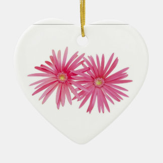 ピンクのデイジーの花 セラミックオーナメント