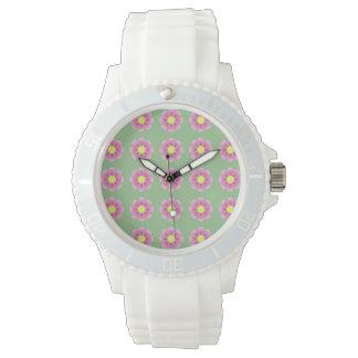 ピンクのデイジーパターン 腕時計
