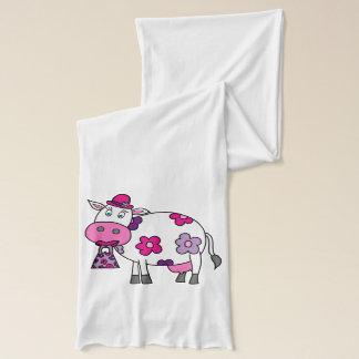 ピンクのデイジー牛 スカーフ
